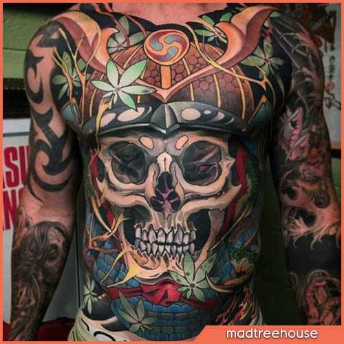 tatuaggio giapponese teschio samurai