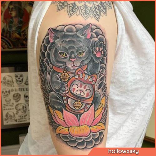 maneki neko tatuaggio giapponese