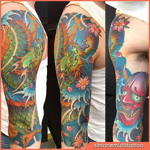 drago e oni japanese tattoo