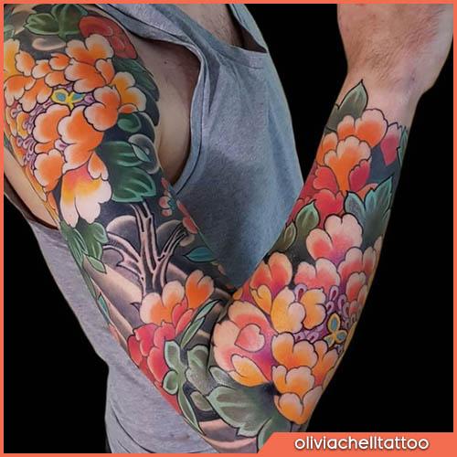 braccio tatuaggio giapponese peonie