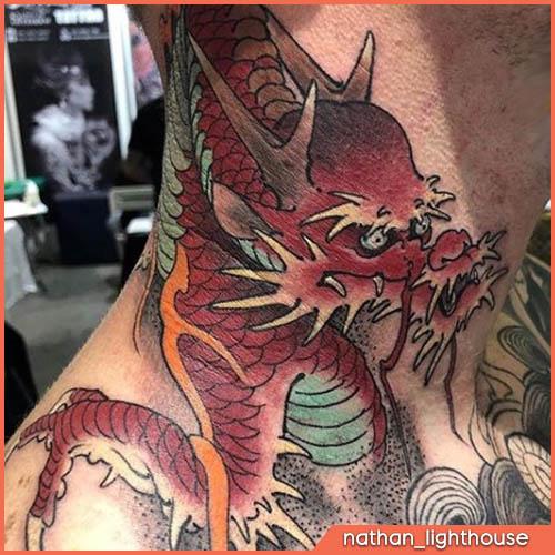 tatuaggio collo giapponese drago