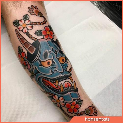 oni blu tatuaggio giapponese polpaccio