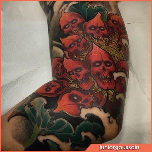 Cráneos de tatuajes japoneses