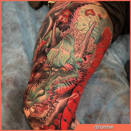 dragón neo japonés en la pierna
