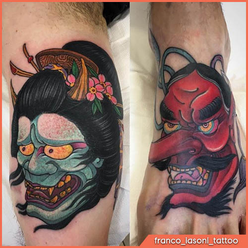 noh masks japanese tattoo