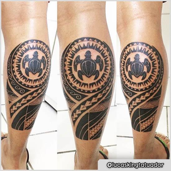tattoo maori tartaruga polpaccio