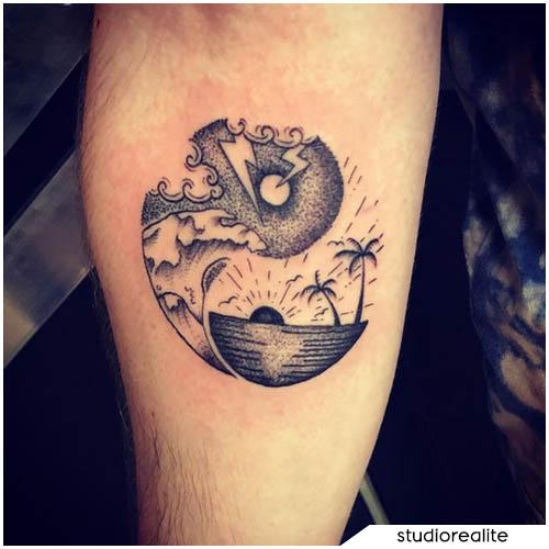 tatuaggio yin yang tempesta