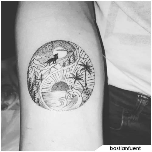 tatuaggio yin yang mare e montagna