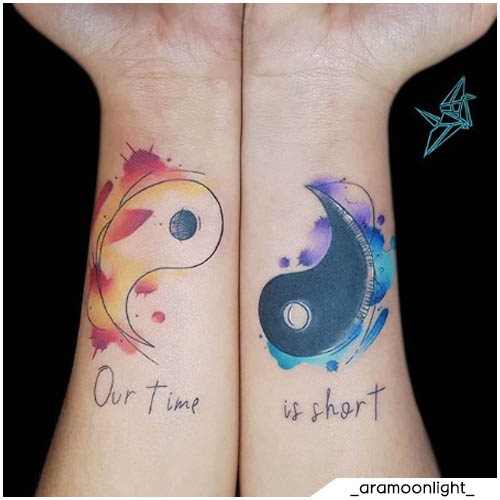 tatuaggio yin yang our time is short