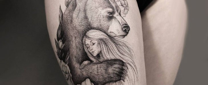bear tattoo hug