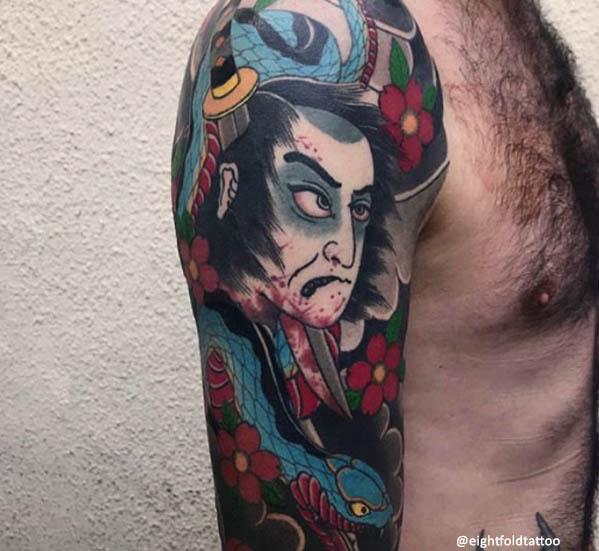 Tatuaje japonés de cabeza cortada