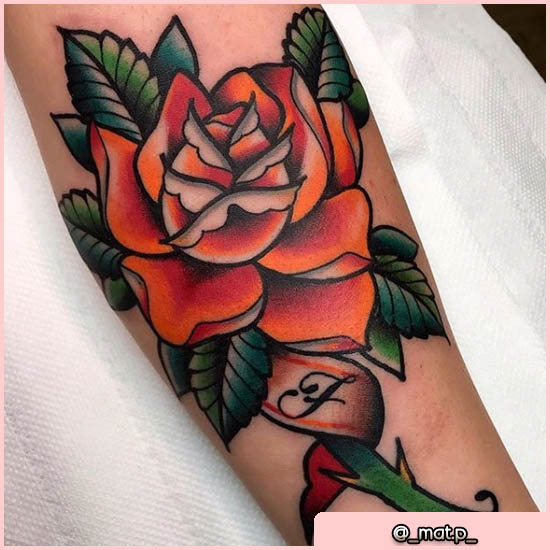 old school tattoo rosa arancione
