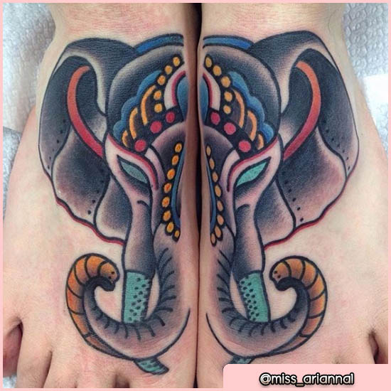 old school tattoo elefante