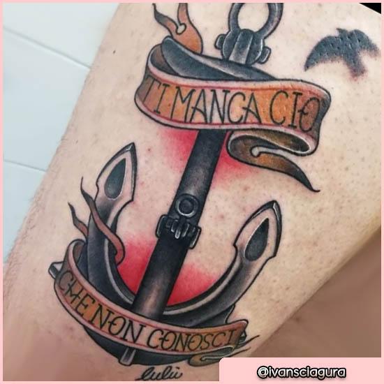 tatuaje old schooltodavía con cita