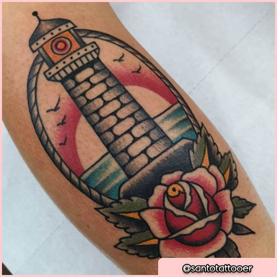 old school tattoo faro con rosa e gabbiani