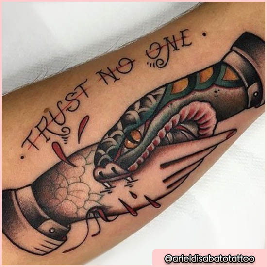 old school tattoo trust no one