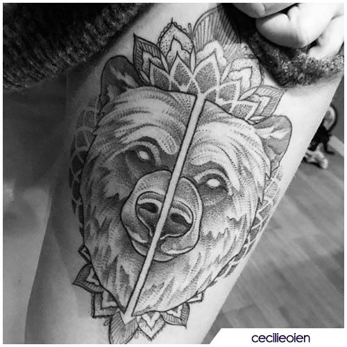 tatuaggio orso mandala