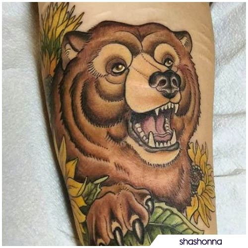 tatuaggio orso cover cicatrici