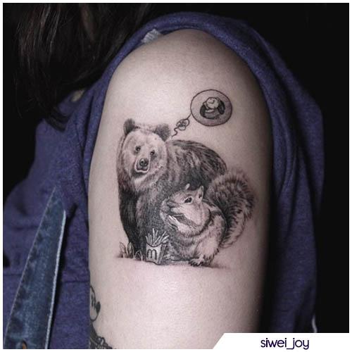 tatuaggio orso scoiattolo
