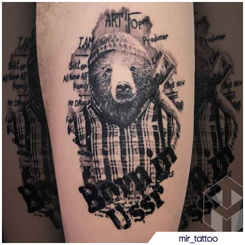 tatuaggio orso boscaiolo