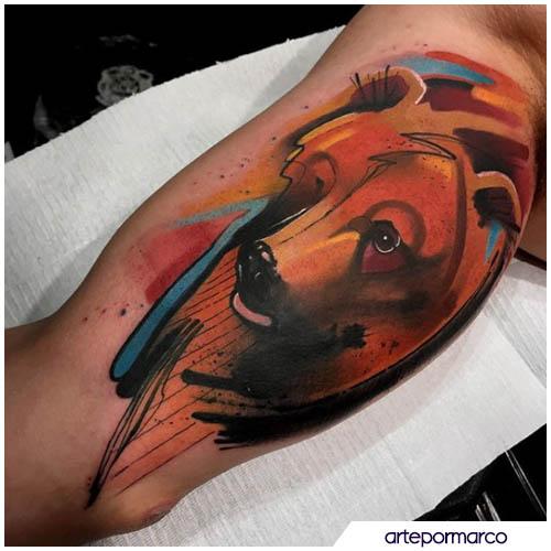 tatuaggio orso dipinto