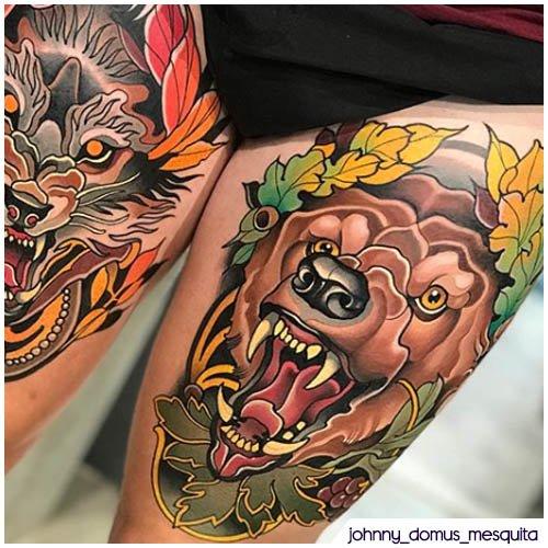 tatuaggio orso new school con lupo