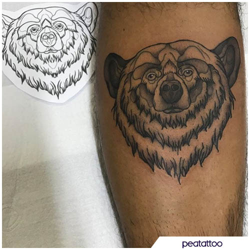 tatuaggio orso black and white