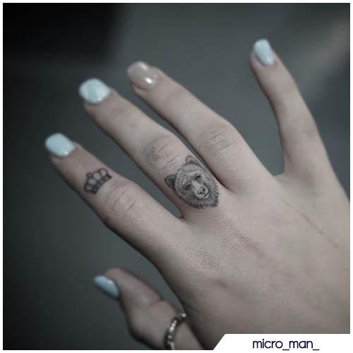 tatuaggio orso dito