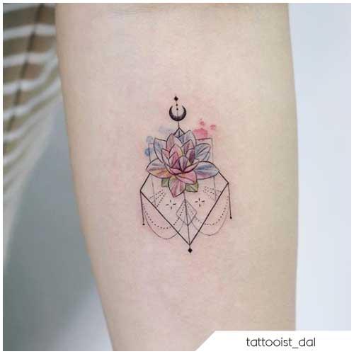 Tatuaggio fiore di loto minimal