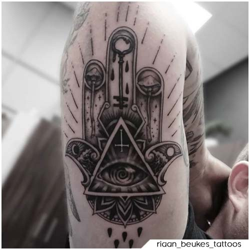Tatuaggio mano di Fatima illuminati
