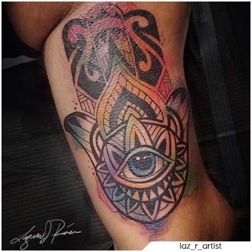 Tatuaggio mano di Fatima watercolor