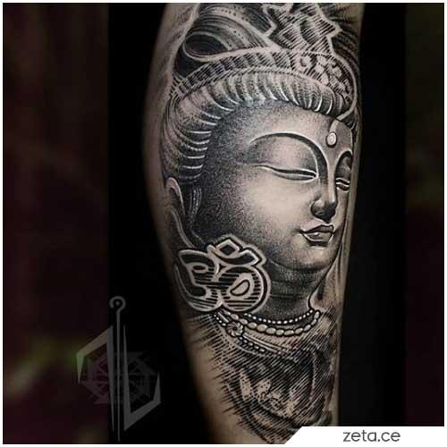 Tatuaje realista de Buda Om