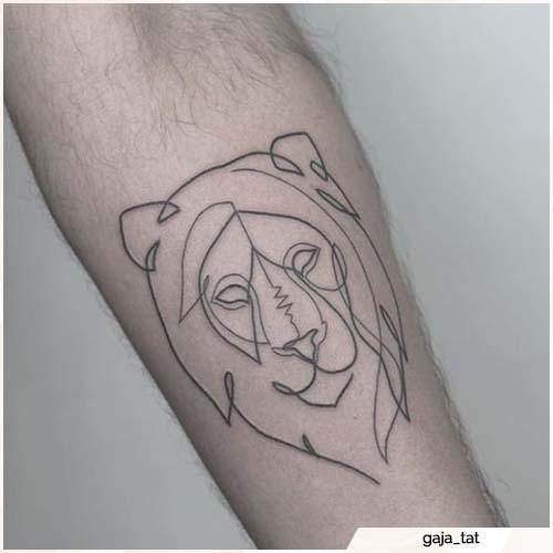 tatuaje de león de línea