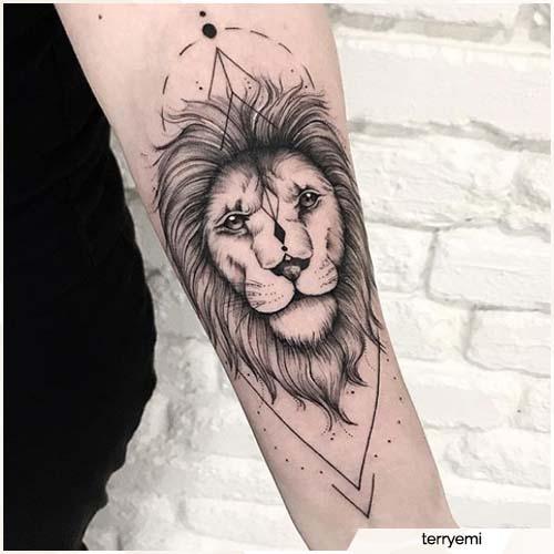 tatuaje geométrico del león