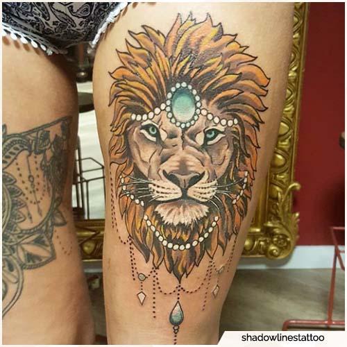 tattoo leone coscia