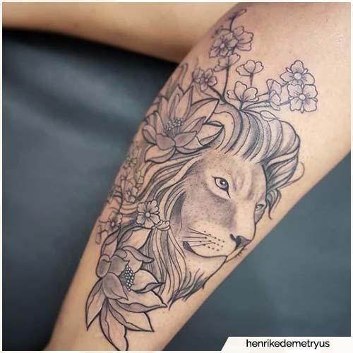 tatuaggio leone polpaccio