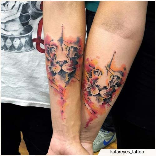 tatuaggio leone famiglia