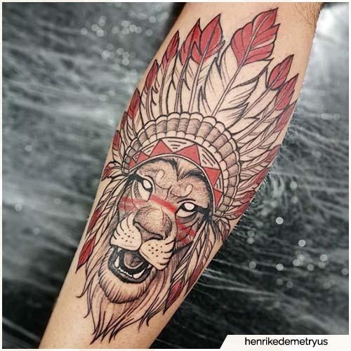 tatuaggio leone nativi americani