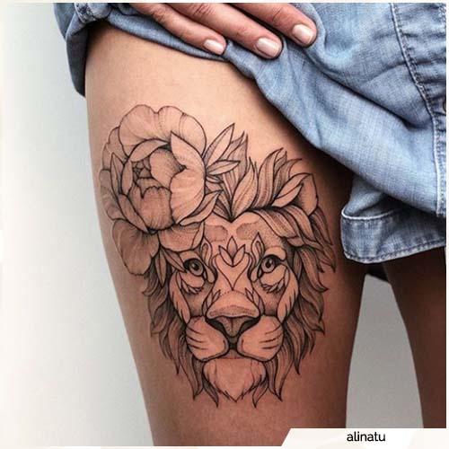 tatuaggio leone coscia