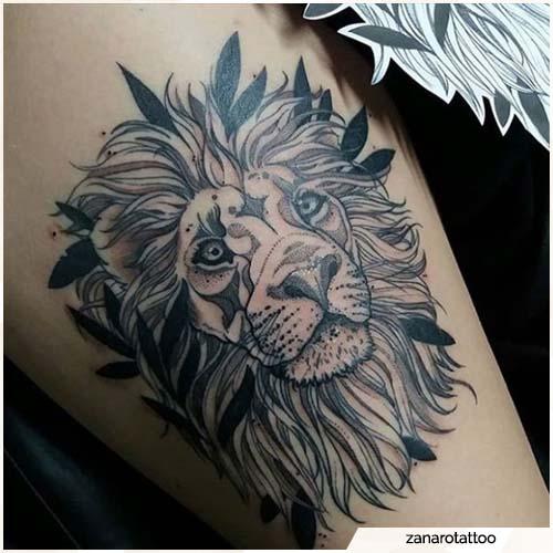 tatuaje de blackwork león