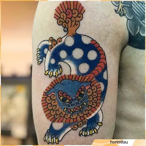 Tatuaje de león chino