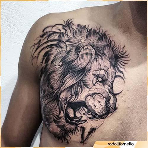 tatuaje de cabeza de león