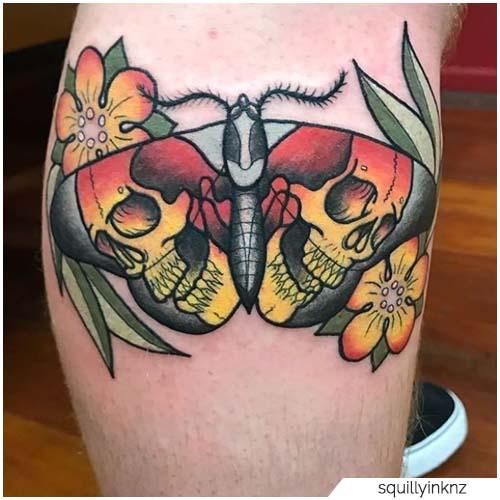 Tatuaggio Falena teschi sulle ali