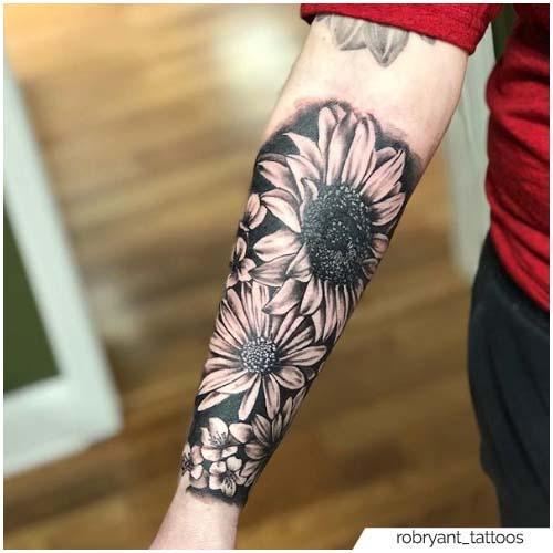 Tatuaje de girasol realista