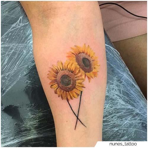 Tatuaje De Girasol Antebrazo Realista