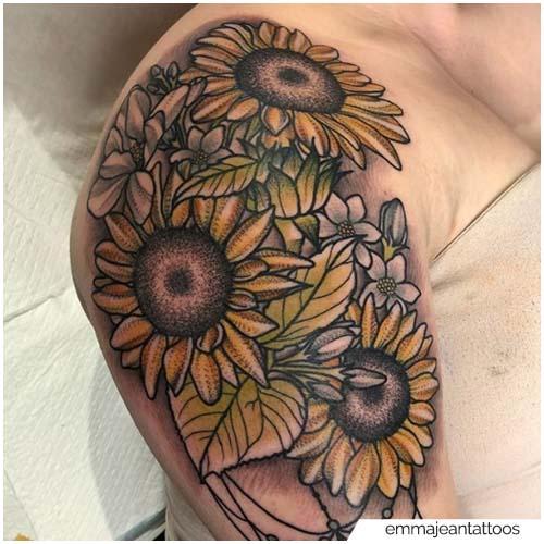 Tatuaggio Girasole Spalla