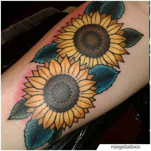 Tatuaggio Girasole Colorato