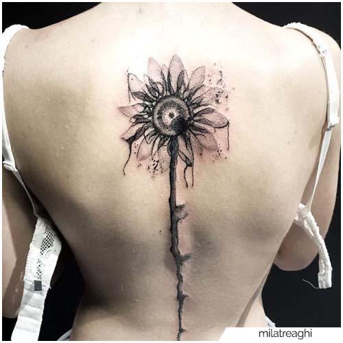Tatuaje girasol acuarela blackwork