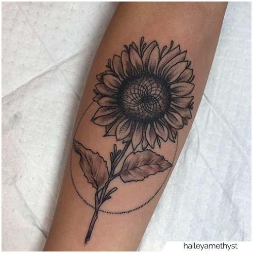 Diagrama de tatuaje de girasol