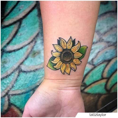Tatuaje de muñeca de girasol